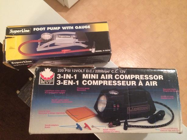 Mini air compressor & a foot pump