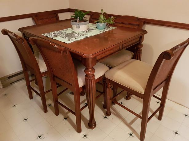 Bar height dining table + leaf + 6 chairs