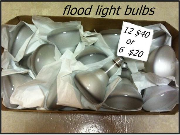 12 flood light bulbs (9 syvania / 3 other) slightly used