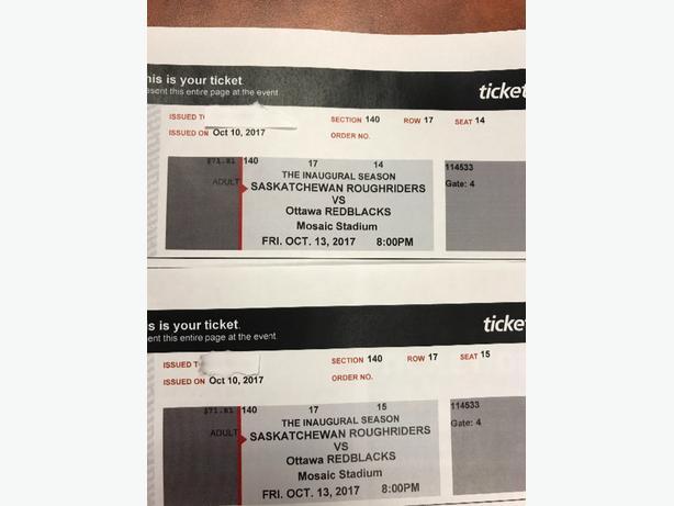 2 tickets Riders vs Redblacks Oct 13