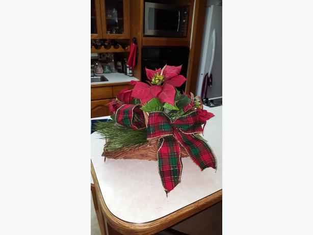 Artificial Poinsettia Flowers in a Basket