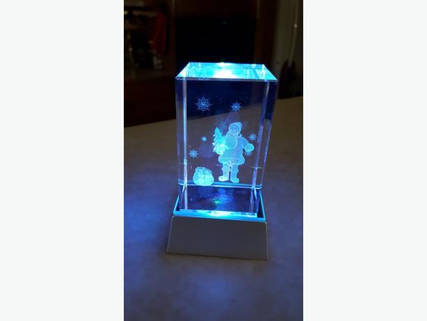 3D Laser Etched Crystal Santa with 3-led Colorful Lights