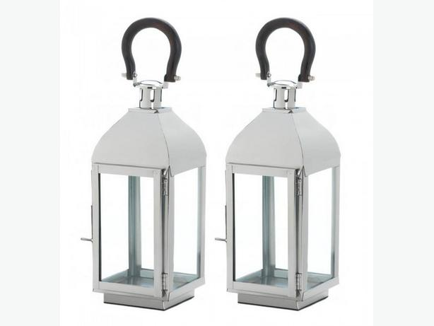 Silver Metal Candle Lantern Clear Glass Panels Black Loop Handle 2 Lot New