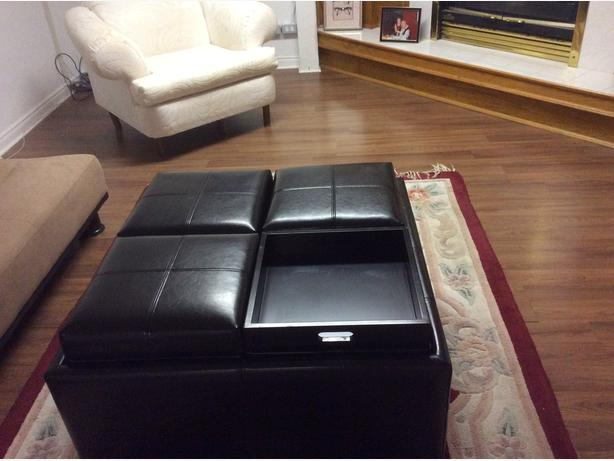 Black Leather Coffee Table/Storage Unit