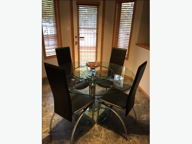 Glass and stainless table & chairs