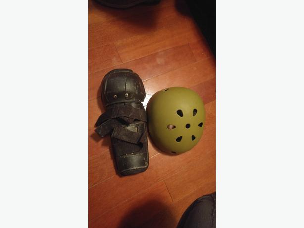 bucket helmet and knee pads