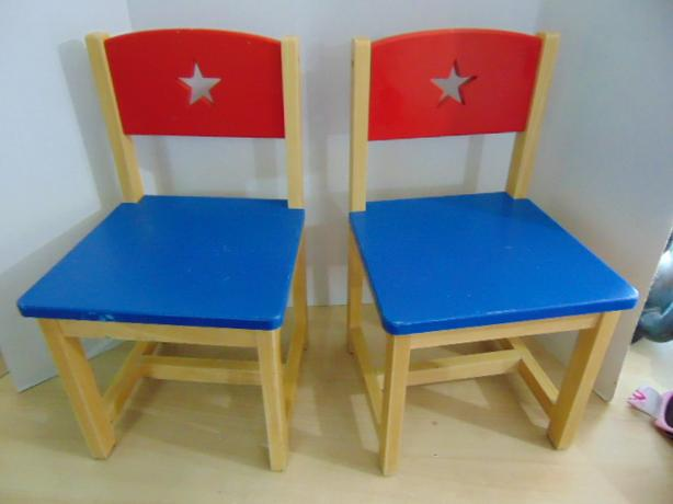 Children's Set 2 Red Blue Wood Chairs Age 2-4