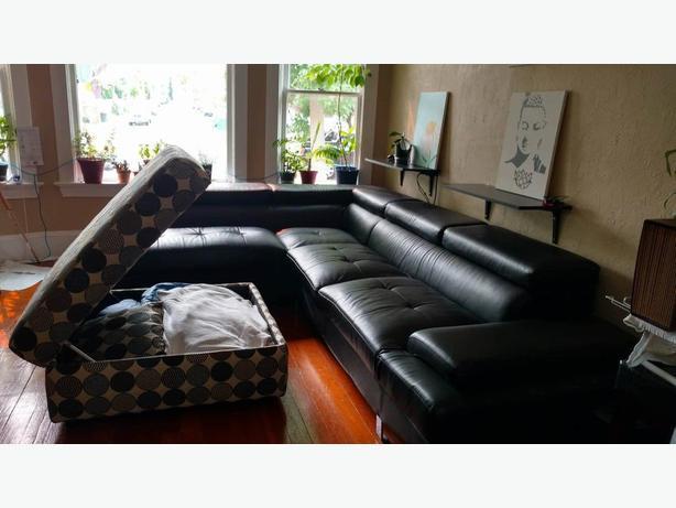 Modern Leather Sofa and Ottoman