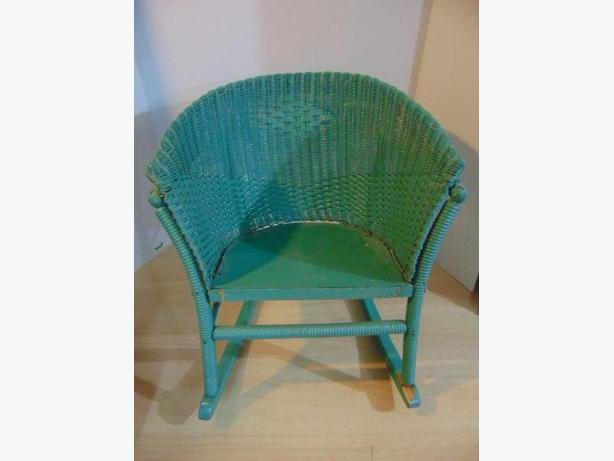 Antique 1930's Child Rocking Chair Wood Rattan Metal Seat Rolled Back & Arms