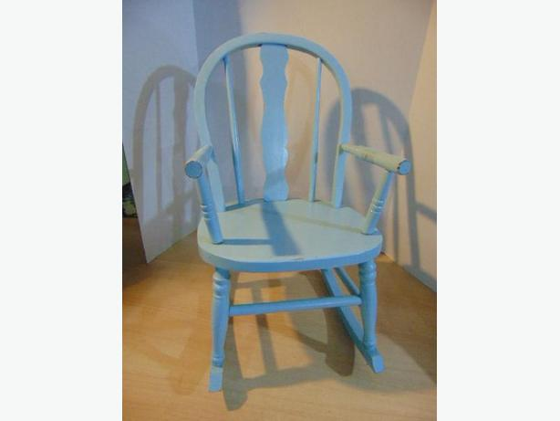 Vintage 1950's Solid Wood Child Rocking Chair Robins Egg Blue Spindles Age 2-4