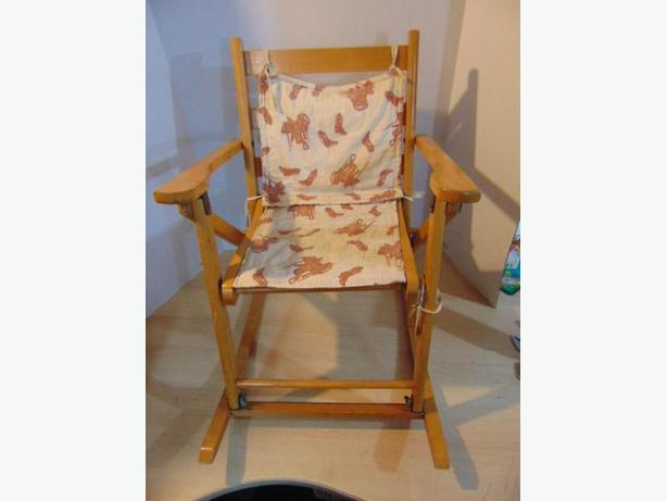 Children's Vintage Folding Wood Rocking Chair With Pad 1970's Ages 2-4