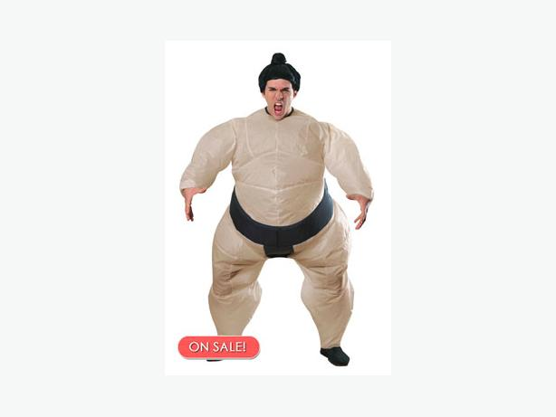 Couple of inflatable Sumo suite costumes
