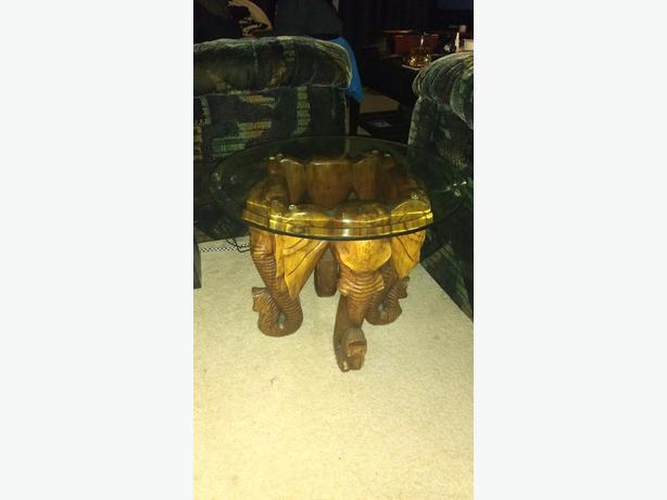 hand carved elephant table