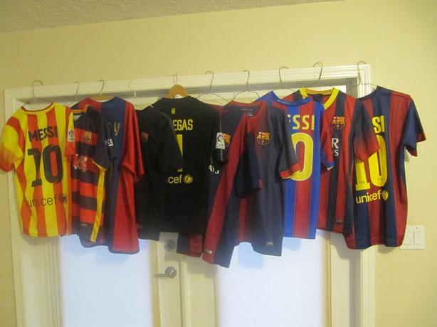 TEN Barcelona Jerseys. Messi X 3, Henry, Fabregas, etc. Stitched