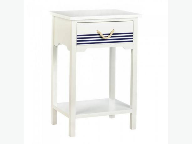 Coastal-Style Accent Table Nightstand White Blue Stripes Rope Handle