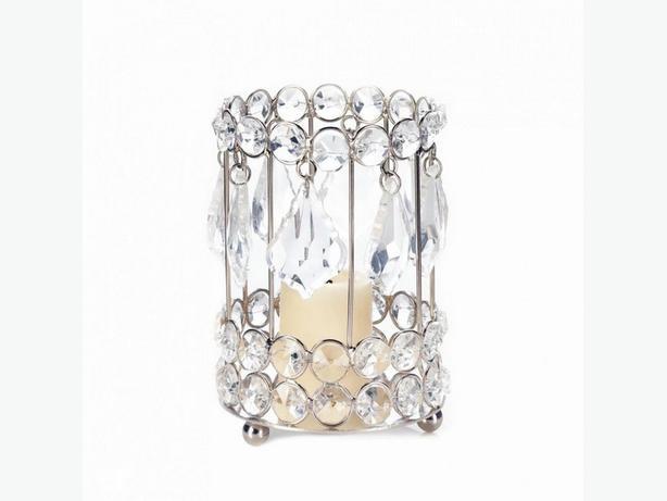 Round Crystal Gem Drop Candleholder Set of 4 Brand New