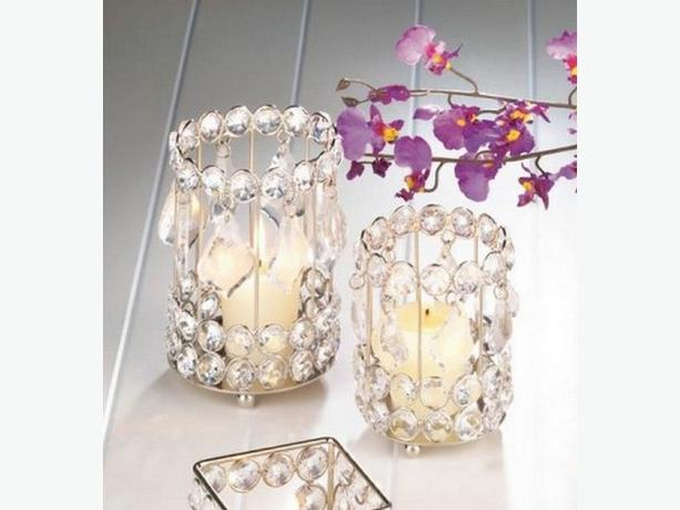 Round Crystal Gem Drop Candleholder Lg&Sm 2PC Mixed Lot New
