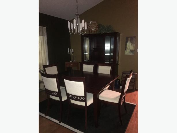 Solid 9 Piece Cherry Wood Dining Room Set