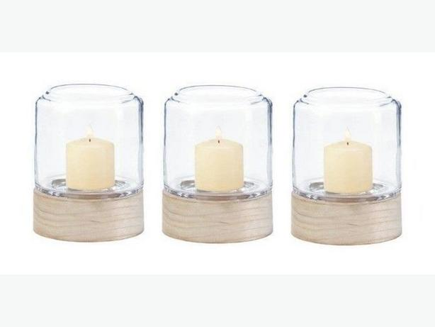 Clear Glass Hurricane Candleholder Lantern Wood Base 3 Lot New