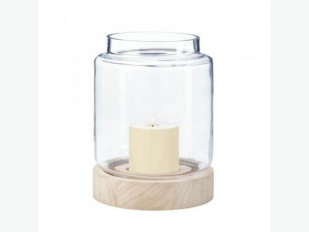 Clear Glass Hurricane Candleholder Lantern Wood Base Lg&Sm 2PC Mix