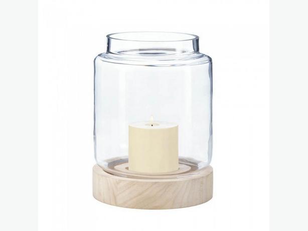 Clear Glass Hurricane Candleholder Lantern Wood Base Lg&Sm 2PC Mix