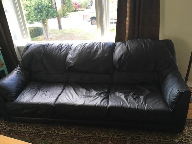 FREE: Black Leather Couch and Loveseat