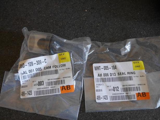 VW FSI engine cam follower, cam seal and engine oil filter