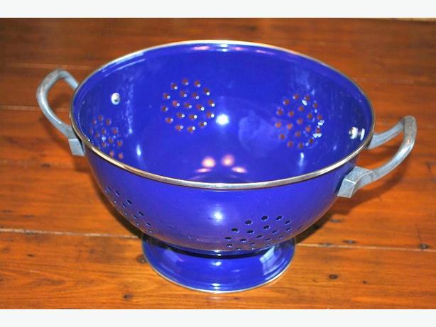 Blue enamel colander
