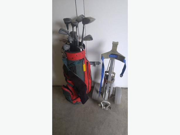 Old clubs and cart for sale