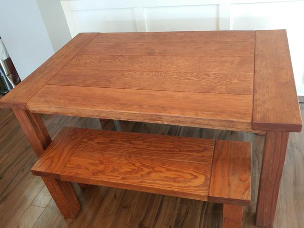 Solid wood table and 2 benches