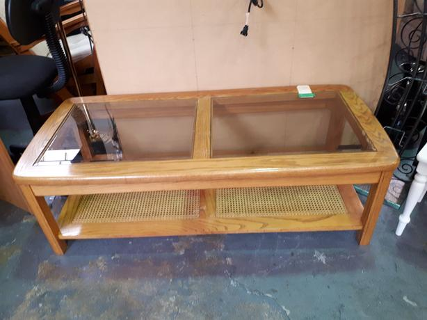 Wood and wicker coffee table | #619