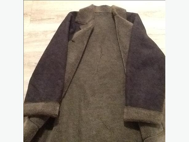Three quarter length suede and shearling winter coat reversible