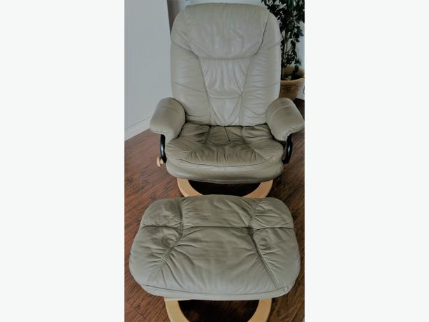 Leather Recliner and Foot Rest