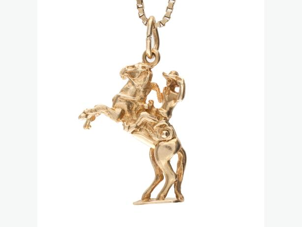 10K Yellow Gold 29mm Cowboy on Rearing Articulated Horse Pendant (4602-12)