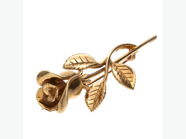 "Beautiful 10K Yellow Gold 1.85"" Detailed Rose Brooch - 6.66 grams(18589-11)"