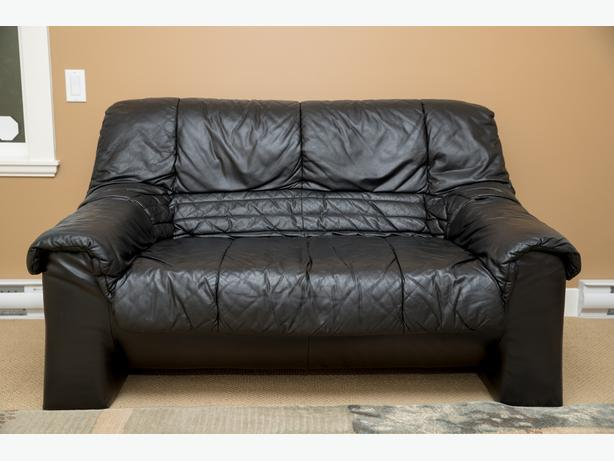 Loveseat Couch in Real Black Leather