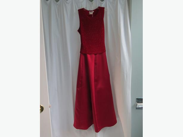 Long Red Two Piece Gown
