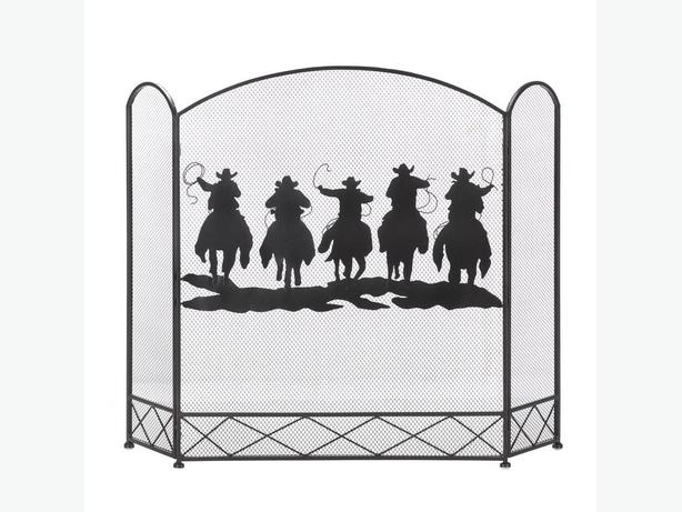 Country Western Fireplace Screen Silhouette Cowboys Horses Brand New Black