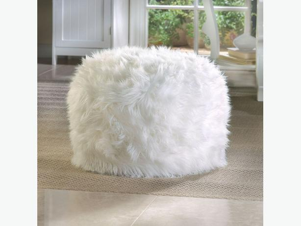 Plush Fuzzy Ottoman Footstool Pouf Brand New White