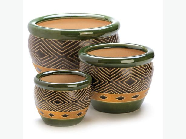 Flower Pot Planter Set 2 Styles Mixed Floral Print & Green Ceramic 6PC