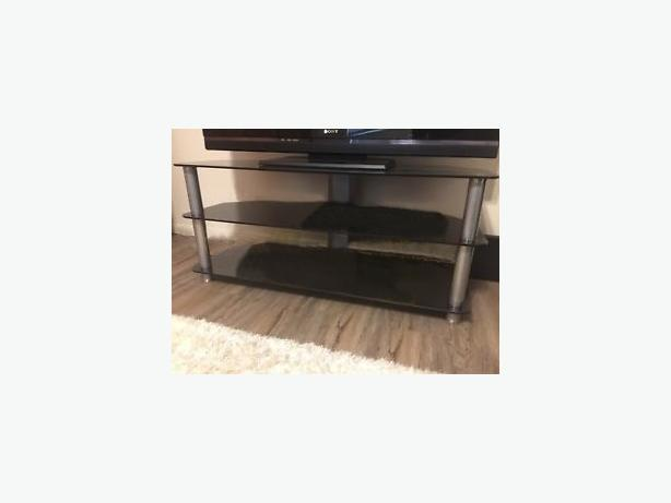 TV stand brushed metal and glass