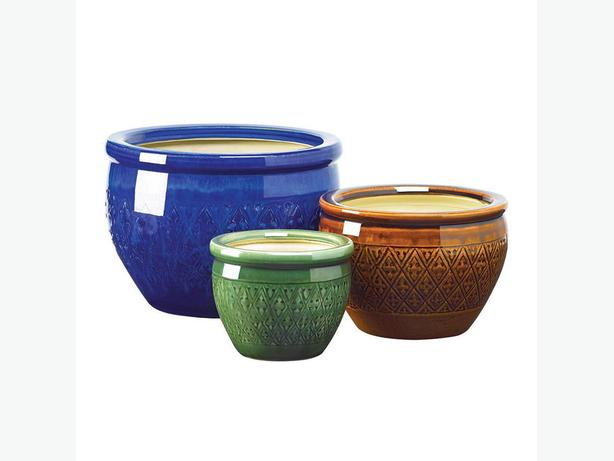 Flower Pot Planter Set 2 Styles Mixed Floral Print & Multi-Color Ceramic 6PC
