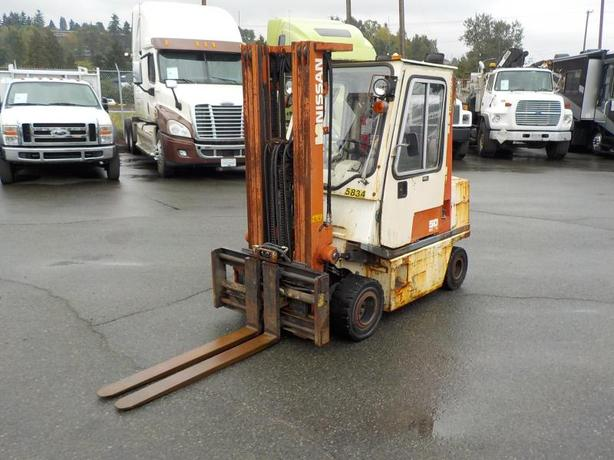 2000 Nissan 50 Propane Powered Three Stage Covered Forklift