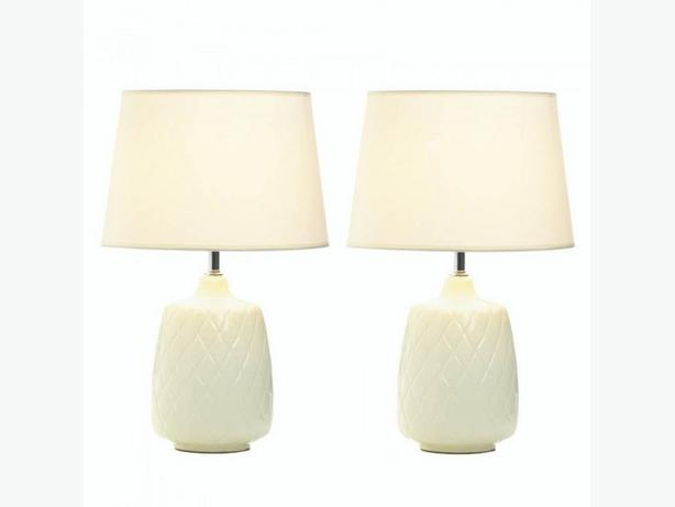 Ceramic Table Lamp Quilted Diamond Pattern Tapered Base 2 Lot New