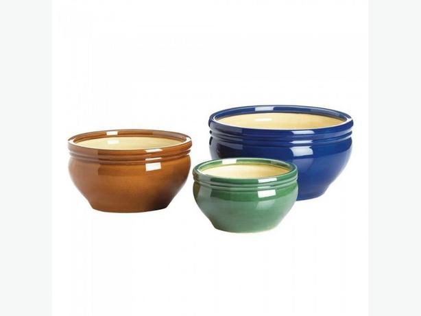 Flower Pot Planter Set 2 Styles Floral Print & Blue/Brown/Green Ceramic 6PC