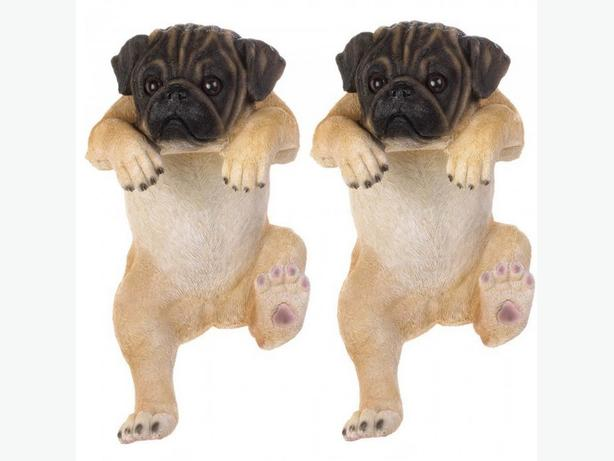 "Large 15"" Pug Dog Statue Ornament Flower Pot Planter Fence Climber Set of 2 NEW"