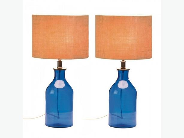 Blue Glass Jar Jug Bottle Table Lamp with Neutral Fabric Shade Set of 2 New
