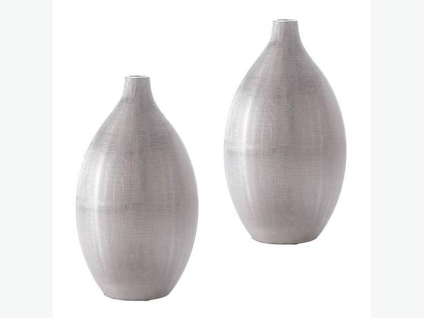 Silver Stoneware Vase with Textured Finish Set of 2 Brand New