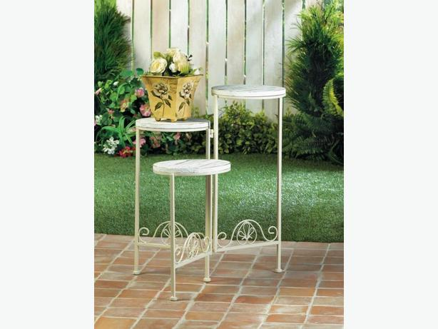 3-Tier Distressed White Wood Plant Stand & Flower Pot Planter Set 4PC Mixed Lot