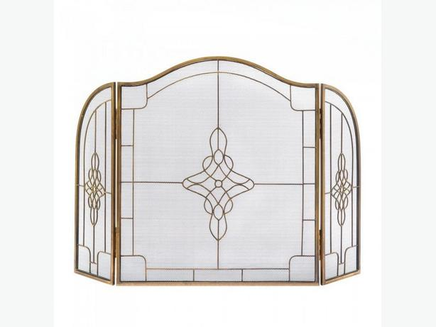 Geometric Art Deco Tri-Fold Fireplace Screen Brand New